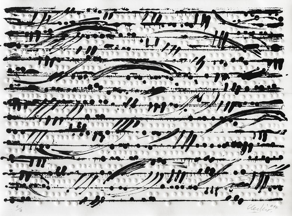 Günther Uecker Prägedruck Optische Partitur 3