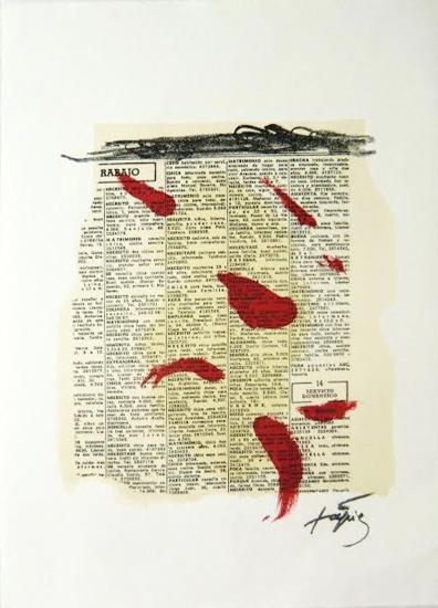 Taches rouges sur journal, 1970