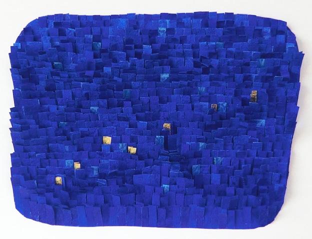 Papierarbeit, Hauch Gold auf Blau, 2014