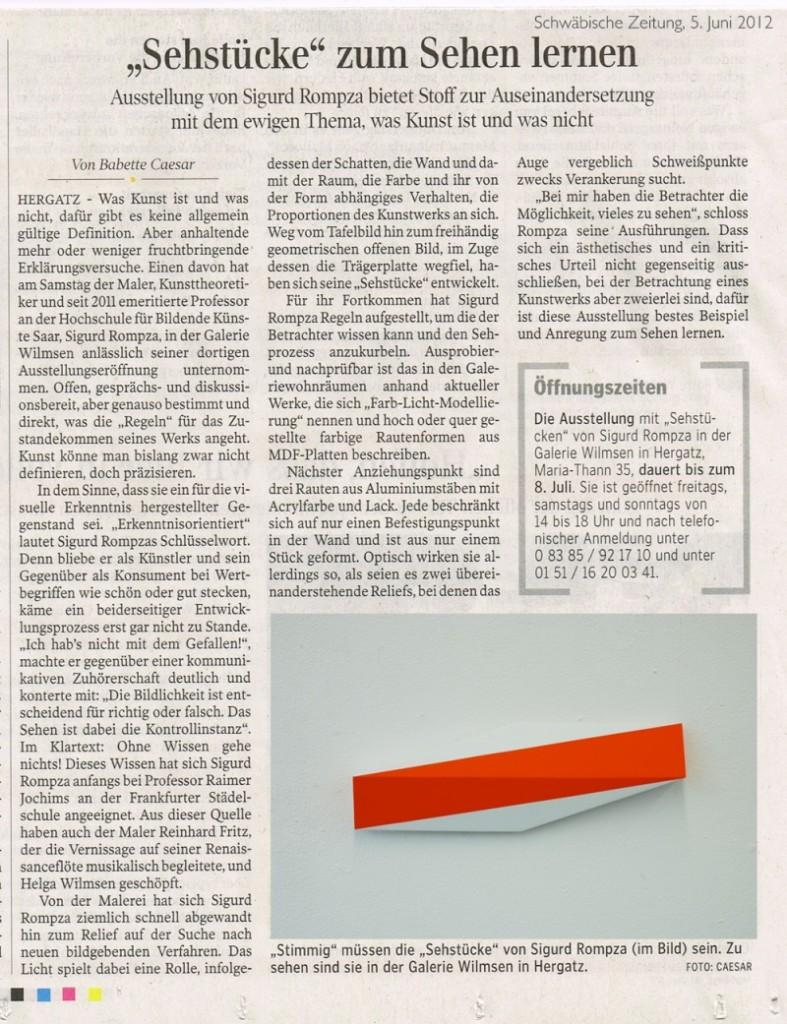 Vom 02.06.2012 – 08.07.2012 stellte die Galerie Wilmsen Bilder des Künstlers Sigurd Rompza aus.