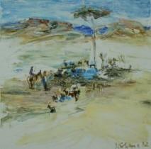 Sabine Kahane, Wasserstelle, 2012, Acryl auf Leinwand, 25 x 25 cm