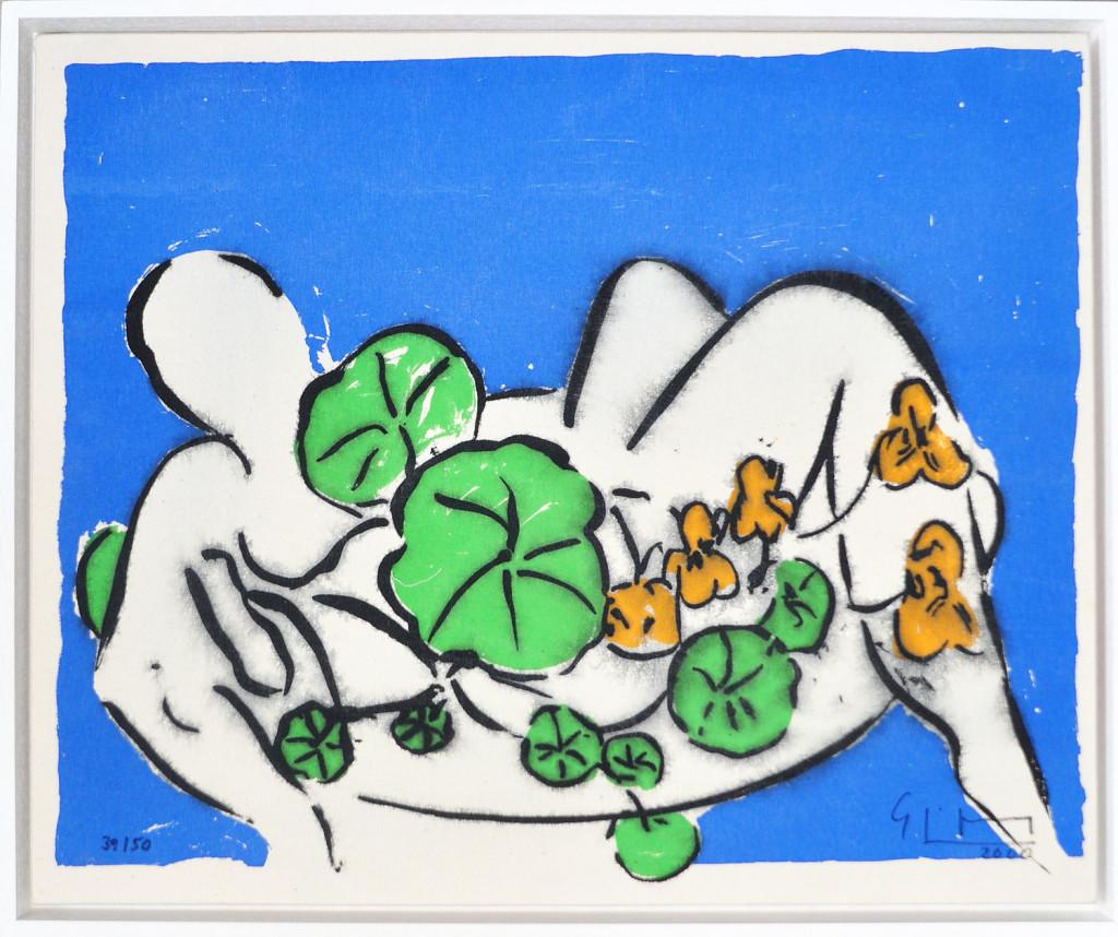 Stefan Szczesny Grafik, Das Bad - Frauenakt mit Blumen und Pflanzen, 2000