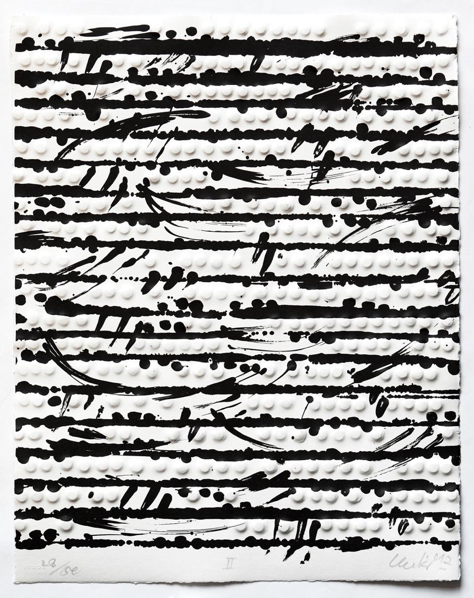 Günther Uecker Prägedrucke, Optische Partitur 2, 2012