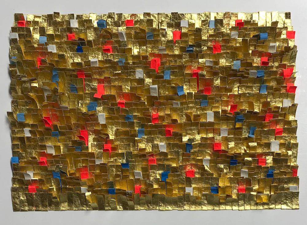 Frieda Martha Papierarbeit, Spiel mit Gold und Farbe, 2017